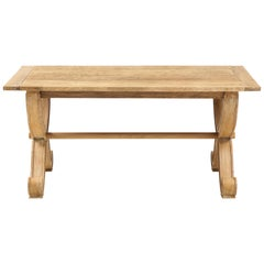 French Oak Table with Scrolled Legs, Round Dowel Stretcher & Cross Legs, France