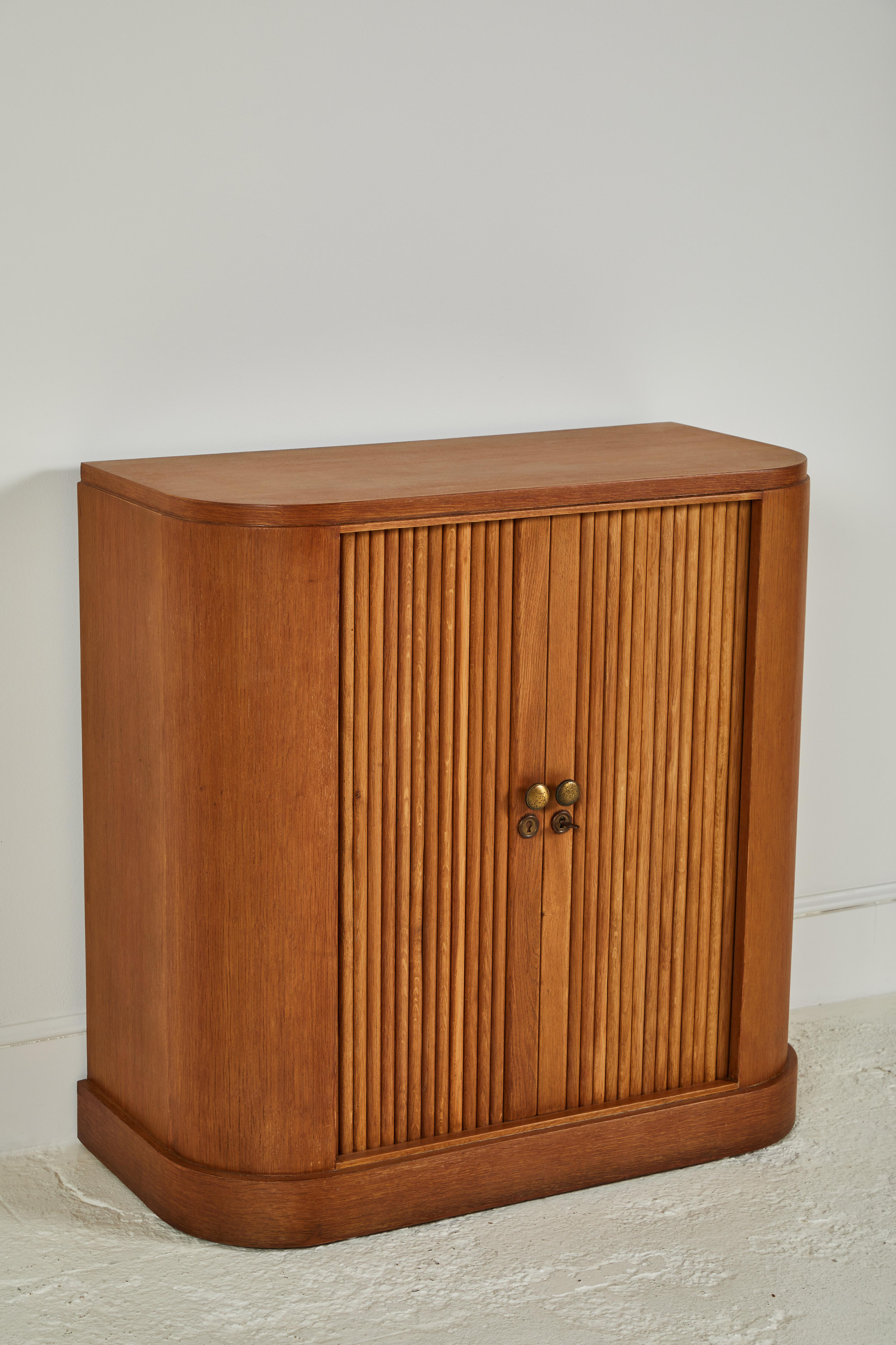 French Oak Tambour Cabinet