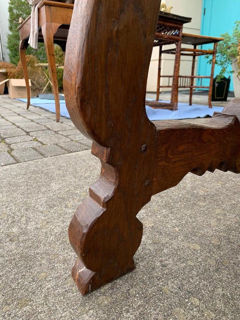 French Oak Trestle Table with Iron Stretcher, circa 1880 8
