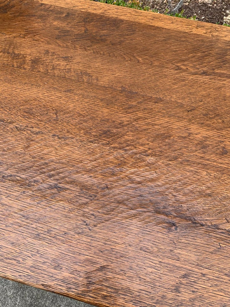 French Oak Trestle Table with Iron Stretcher, circa 1880 10