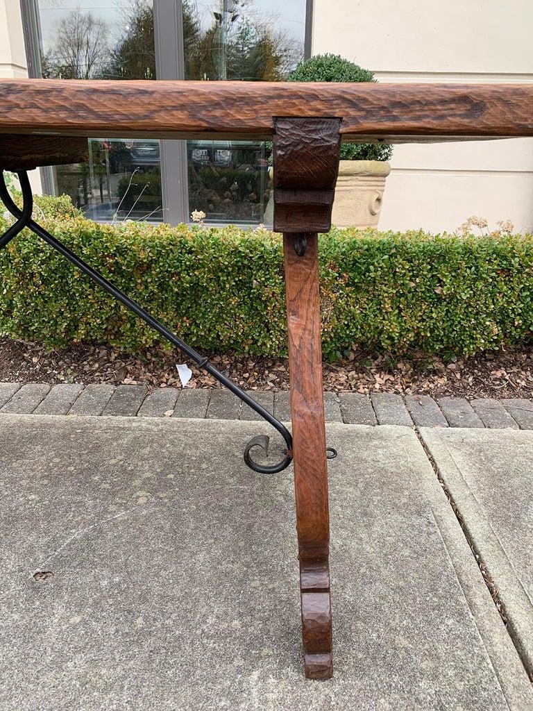 French Oak Trestle Table with Iron Stretcher, circa 1880 12