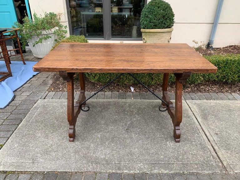 French Oak Trestle Table with Iron Stretcher, circa 1880 13