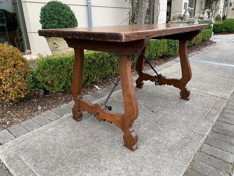 French Oak Trestle Table with Iron Stretcher, circa 1880 In Good Condition In Atlanta, GA