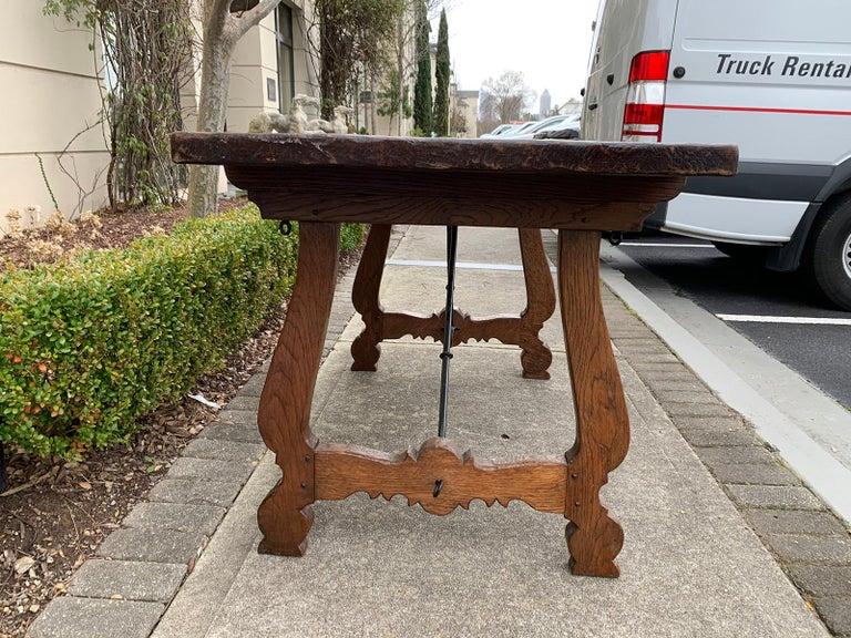 French Oak Trestle Table with Iron Stretcher, circa 1880 1