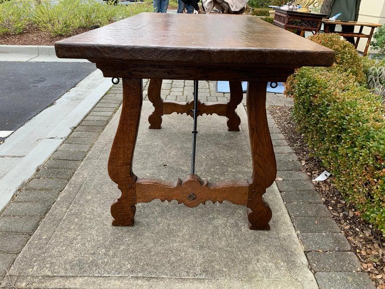French Oak Trestle Table with Iron Stretcher, circa 1880 3