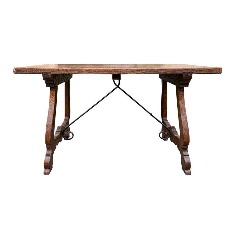French Oak Trestle Table with Iron Stretcher, circa 1880