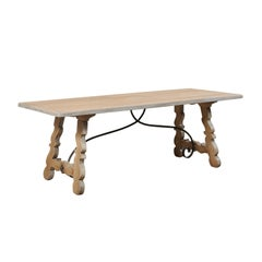 French Oak Trestle Table with Iron Stretcher, Mid-20th Century
