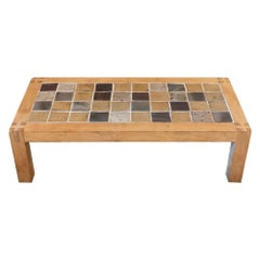 French Oak Wood and Multicolor Ceramic Tiles Coffee Table, 1960's Circa