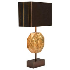 """French """"Octogonal"""" Table Lamp by Maison Charles 1970, Amber-Like Center Piece"""