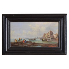 French Oil on Board, Harbor Scene with Fishermen, Signed Ferdinand Bonheur
