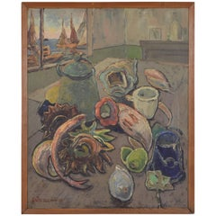 French Oil on Board, Kitchen Still Life with Harbor View, Signed and Dated 1951