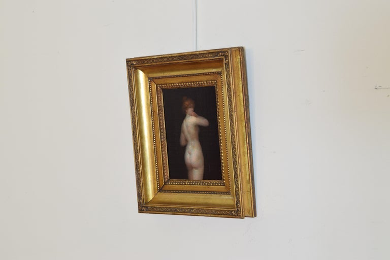 Beaux Arts French Oil on Board of a Female Nude For Sale