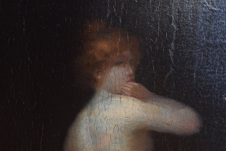 Mid-19th Century French Oil on Board of a Female Nude For Sale