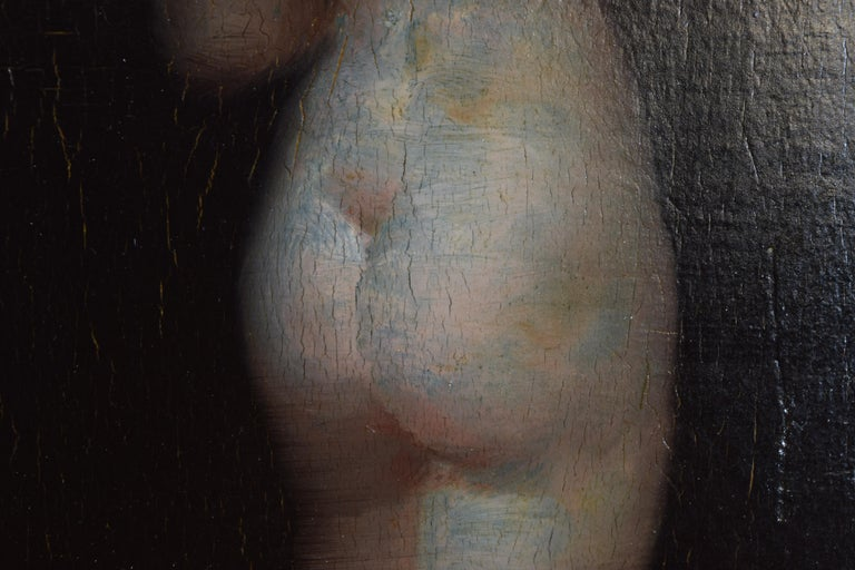 Paint French Oil on Board of a Female Nude For Sale