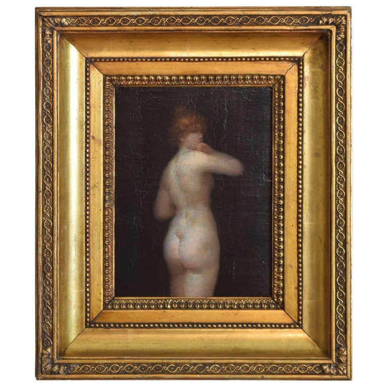 French Oil on Board of a Female Nude For Sale