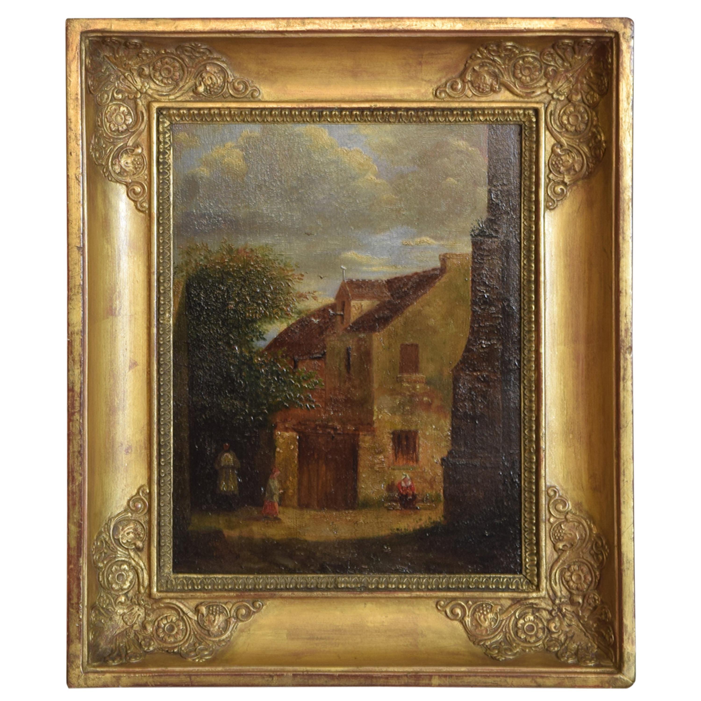 "French Oil on Board, ""Village Genre Scene"", Second Quarter of the 19th Century"