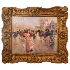 French Oil on Canvas by Karine Girard 'French 1965' or a Paris Street Scene