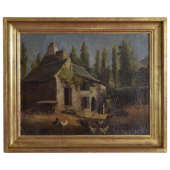 French Oil on Canvas, Farmhouse with Figures and Fowl, 19th Century