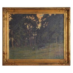 French Oil on Canvas Horse Being Led through Field Signed Lower Right circa 1920
