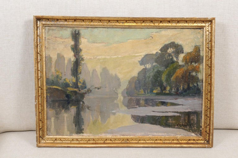 The French oil on canvas landscape painting titled