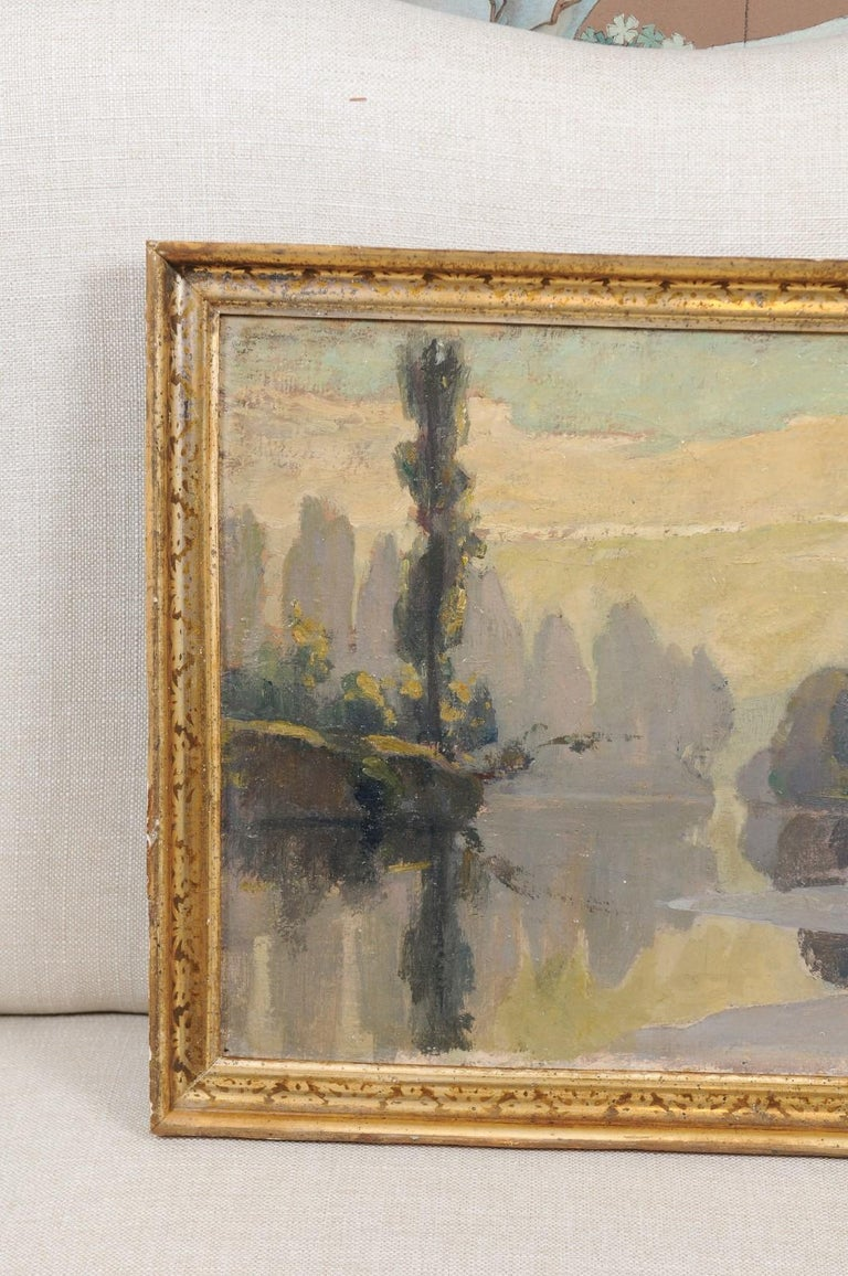 French Oil on Canvas Landscape Painting, Early 20th Century For Sale 1