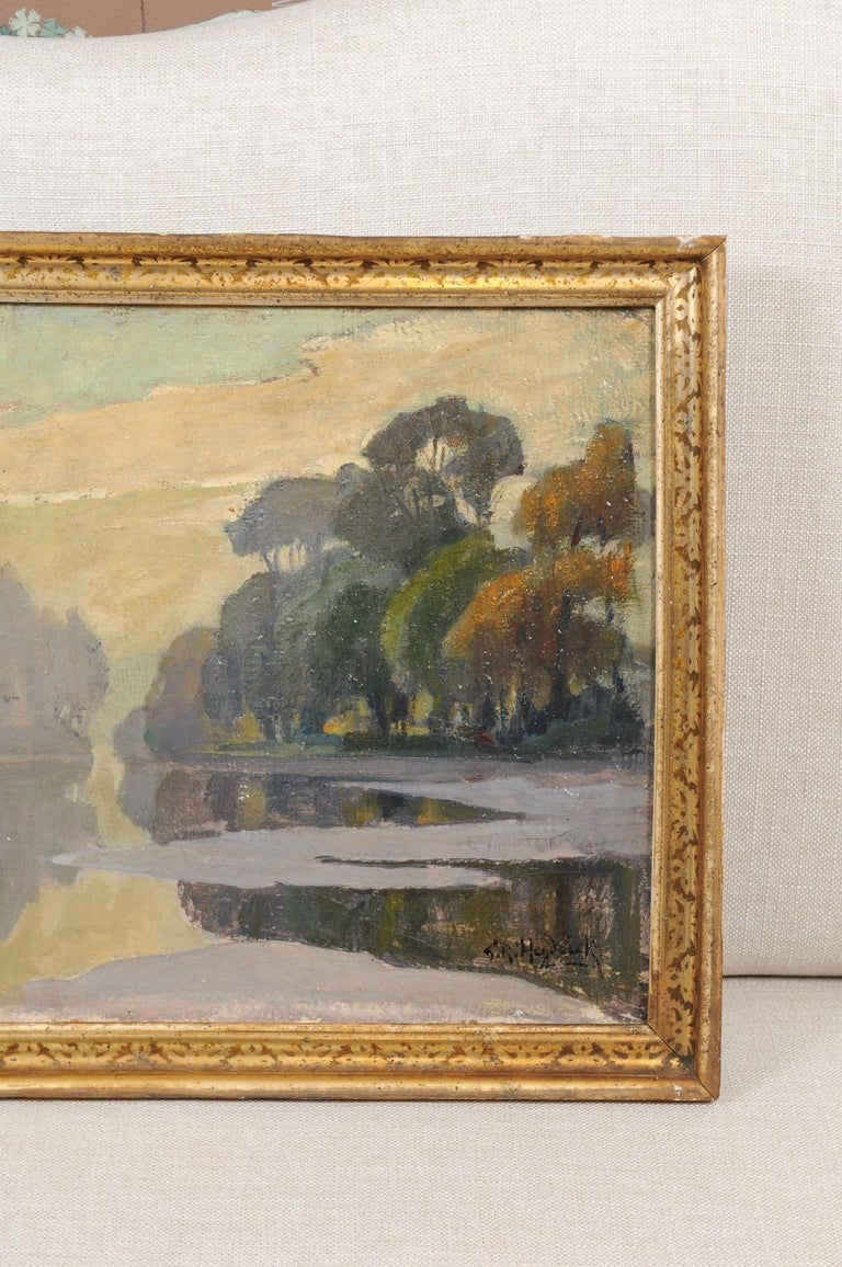 French Oil on Canvas Landscape Painting, Early 20th Century For Sale 2