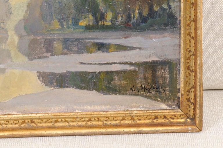French Oil on Canvas Landscape Painting, Early 20th Century For Sale 4