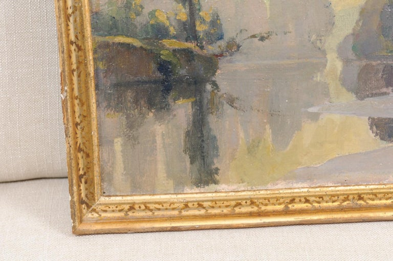 French Oil on Canvas Landscape Painting, Early 20th Century For Sale 5