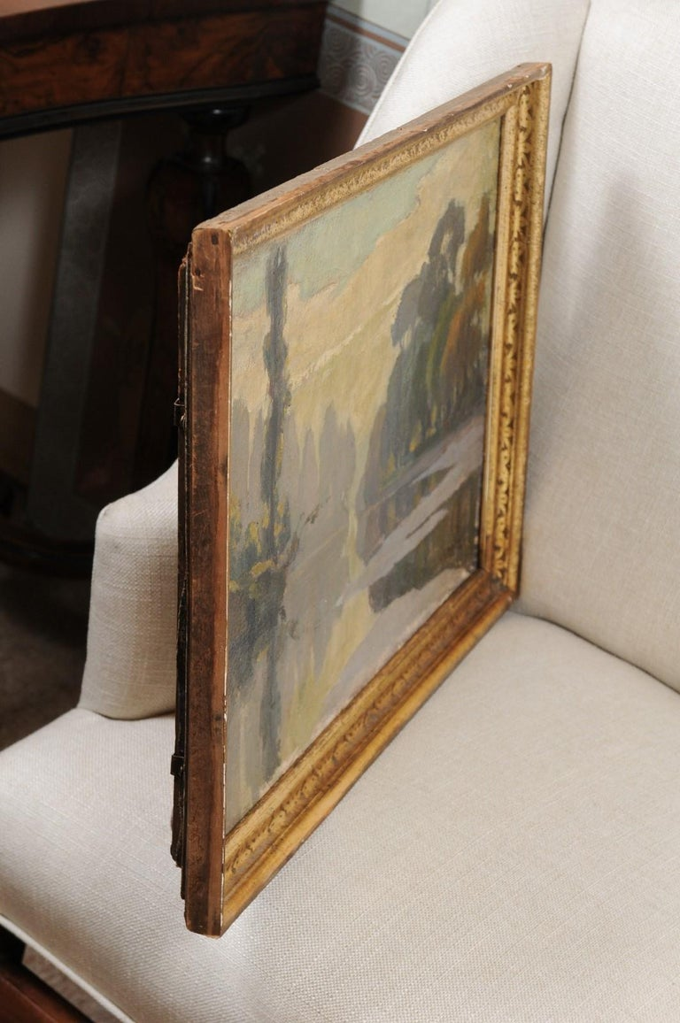 French Oil on Canvas Landscape Painting, Early 20th Century For Sale 6