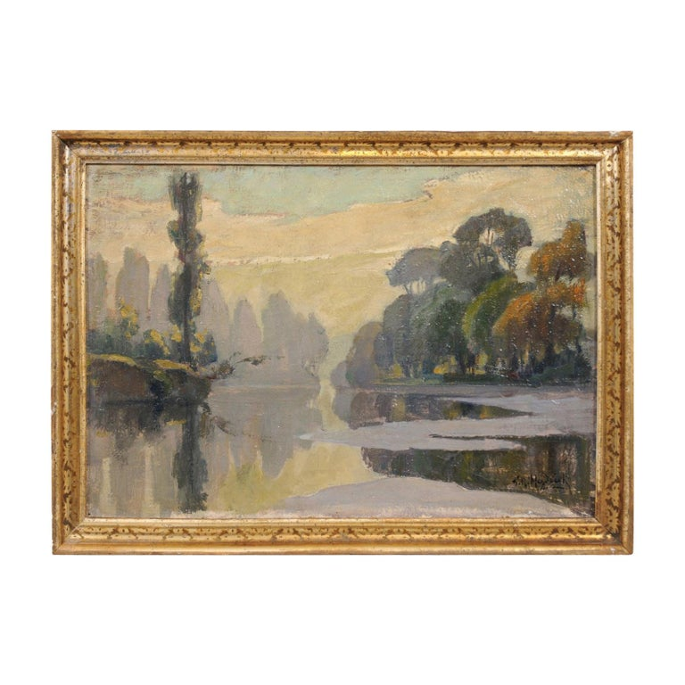 French Oil on Canvas Landscape Painting, Early 20th Century For Sale