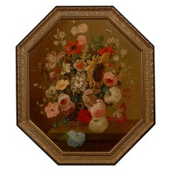 French Restauration Period 1820s Framed Octagonal Painting Depicting a Bouquet
