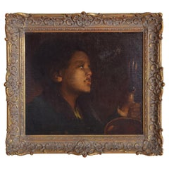 French Oil on Canvas on Board, Baroque Style, Girl in Lamplight, 19th Century
