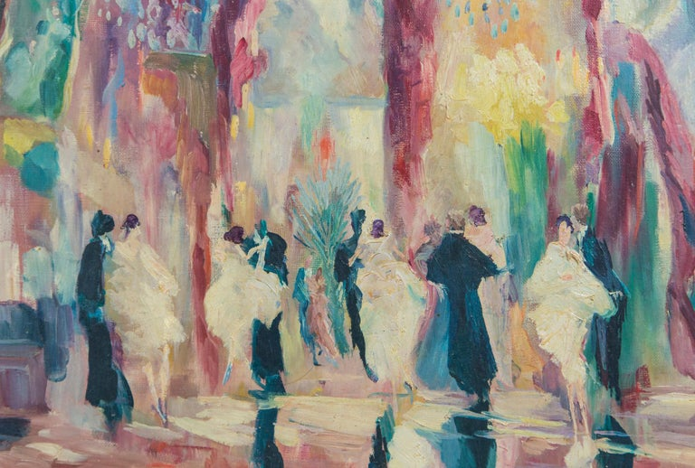 Mid-20th Century French Oil on Canvas Painting, Ball Room Scene For Sale