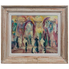French Oil on Canvas Painting, Ball Room Scene