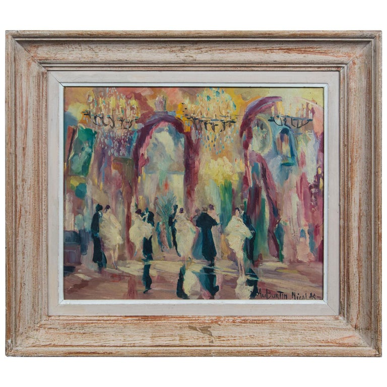 French Oil on Canvas Painting, Ball Room Scene For Sale