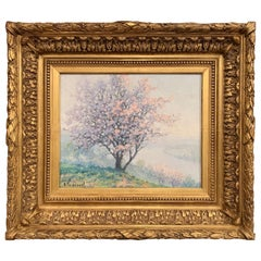 "French Oil on Canvas Painting in Gilt Frame ""Le Printemps"" Signed R. Thibesart"