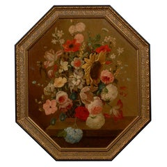 French Oil On Canvas Painting of Flowers c.1820