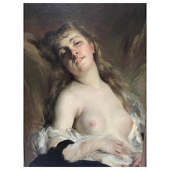 French Oil on Canvas Painting of Nude, 19th Century