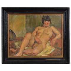 French Oil on Canvas, Reclining Nude, Second Quarter of the 20th Century