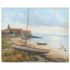 French Oil on Panel Painting Depicting a Seashore Bathed in Subtle Golden Light