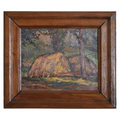 French Oil on Panel, Thatch Homes in a Forest, First Quarter of the 20th Century