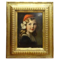 "French Oil on Paperboard ""Young Girl"", Frame in Carved and Gilded Wood"