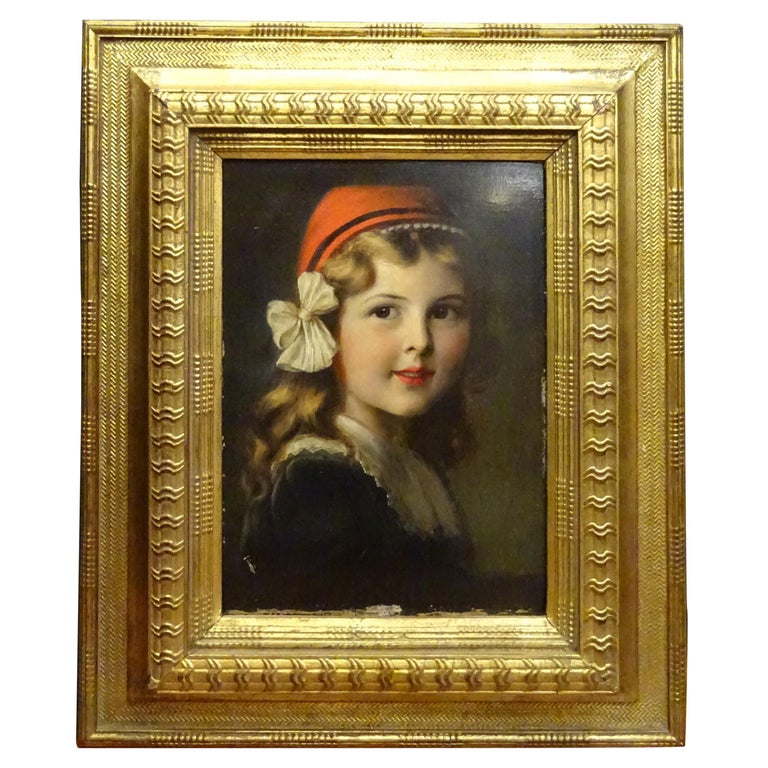 """French Oil on Paperboard """"Young Girl"""", Frame in Carved and Gilded Wood For Sale"""