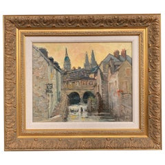 """French Oil Painting in Gilt Frame """"Le Vieux Moulin, Bayeux"""" Signed Vincent"""