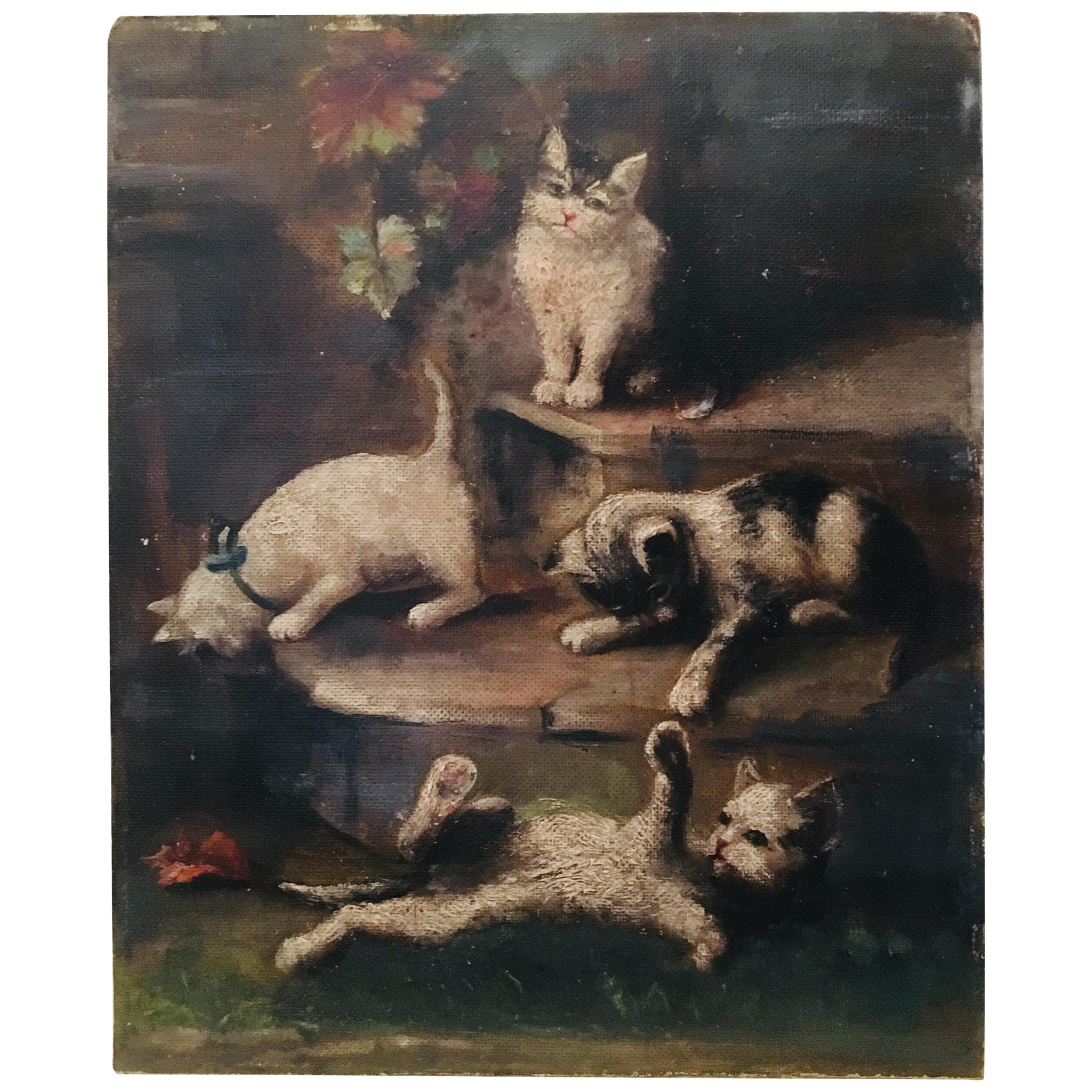 French Oil Painting of Playful Cats and Kittens, Dated 1948