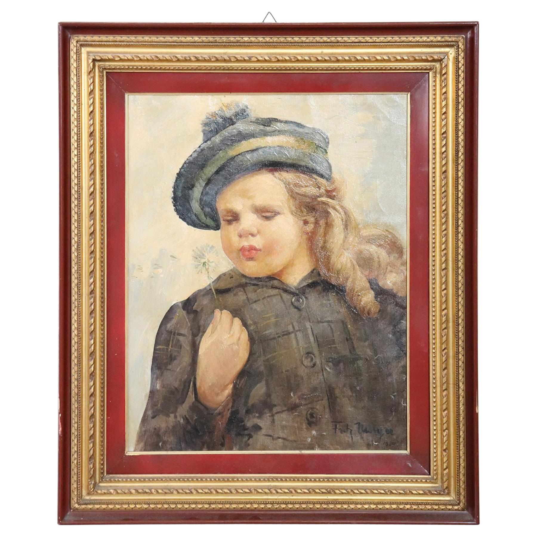 French Oil Painting on Canvas Signed and Dated Portrait of a Baby, 1919s
