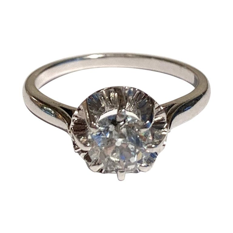 French Old Cut 1.11 Carat Diamond 18 Carat Platinum White Gold Ring For Sale