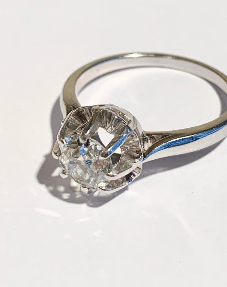 Retro French Old Cut 1.11 Carat Diamond 18 Carat Platinum White Gold Ring For Sale