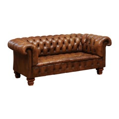French Old Leather Tufted Chesterfield Sofa with Nailhead Trim, circa 1890