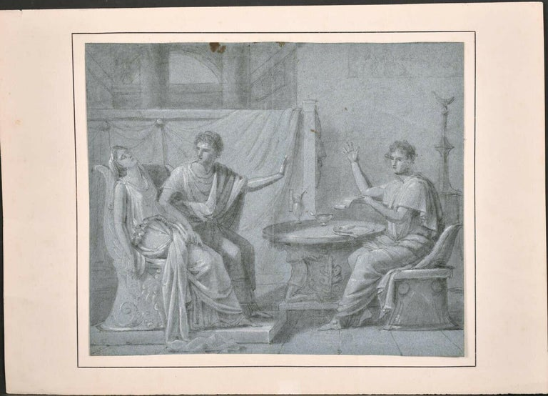 FINE 18th CENTURY OLD MASTER CHALK DRAWING - ROMANESQUE FIGURES INTERIOR SCENE - Painting by French Old Master